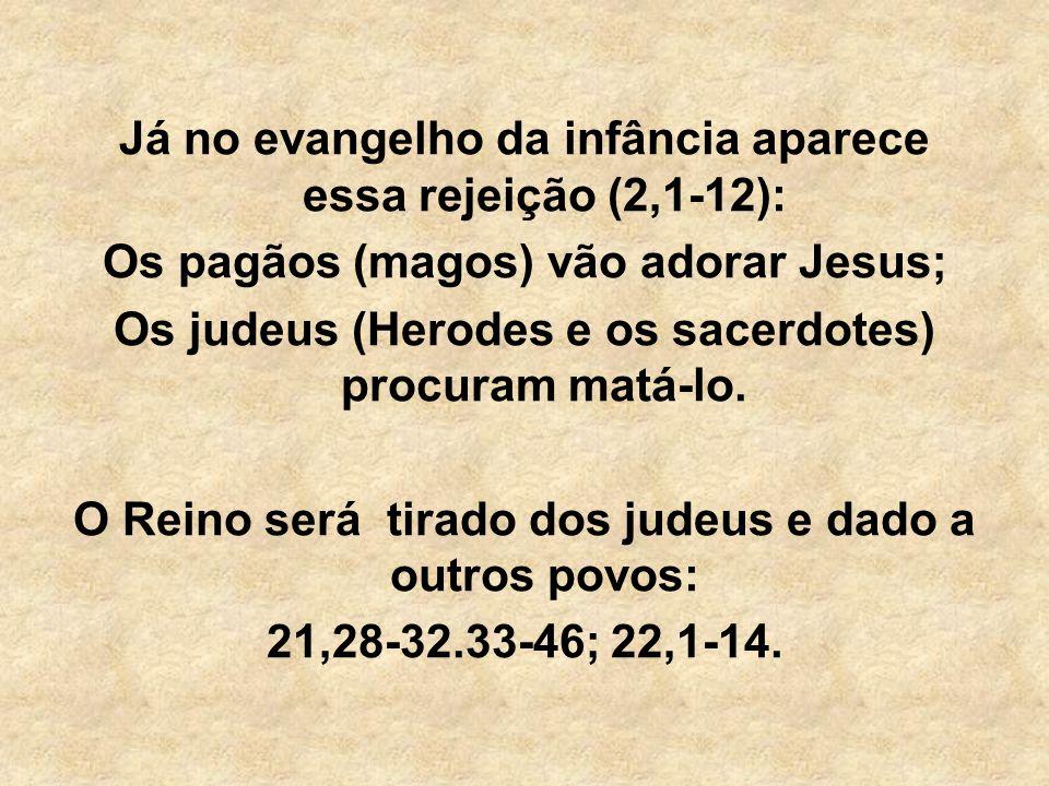 Já no evangelho da infância aparece essa rejeição (2,1-12):