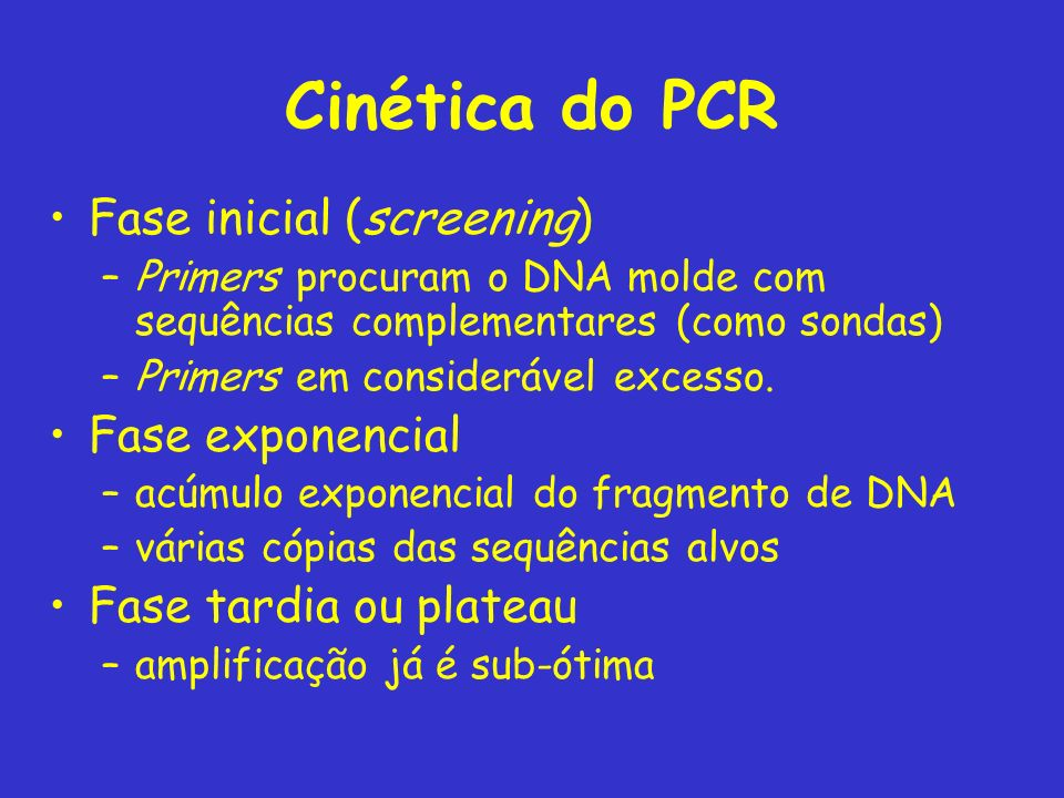 Cinética do PCR Fase inicial (screening) Fase exponencial