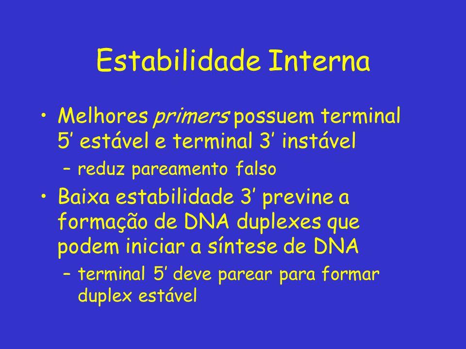 Estabilidade Interna Melhores primers possuem terminal 5' estável e terminal 3' instável. reduz pareamento falso.