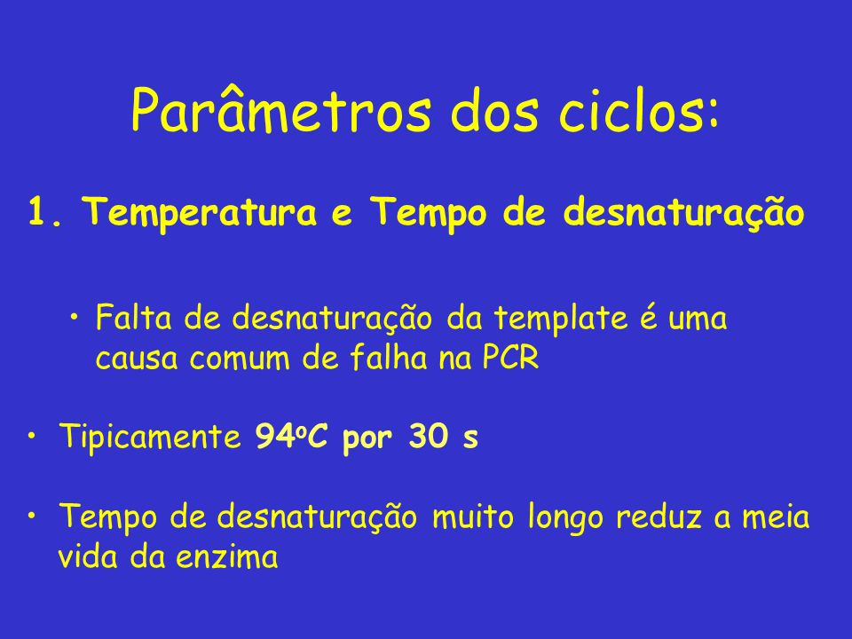 Parâmetros dos ciclos: