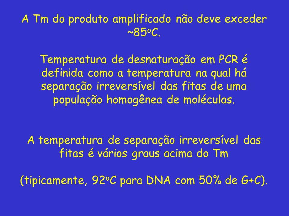 A Tm do produto amplificado não deve exceder ~85oC.