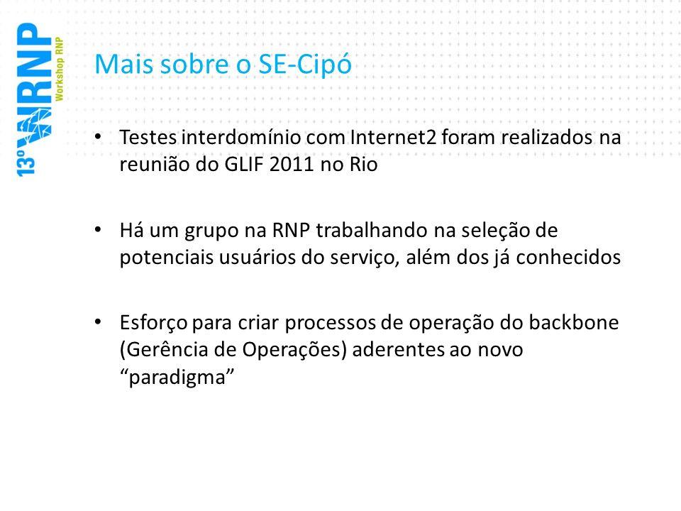 Mais sobre o SE-Cipó Testes interdomínio com Internet2 foram realizados na reunião do GLIF 2011 no Rio.