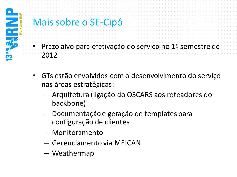 Mais sobre o SE-Cipó Prazo alvo para efetivação do serviço no 1º semestre de 2012.