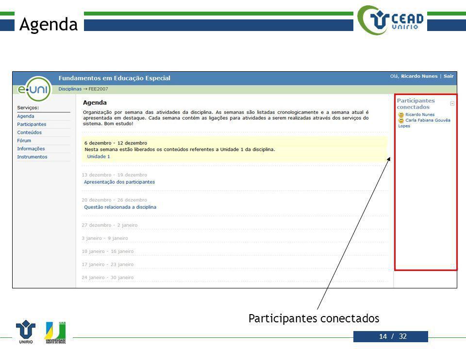Agenda Participantes conectados