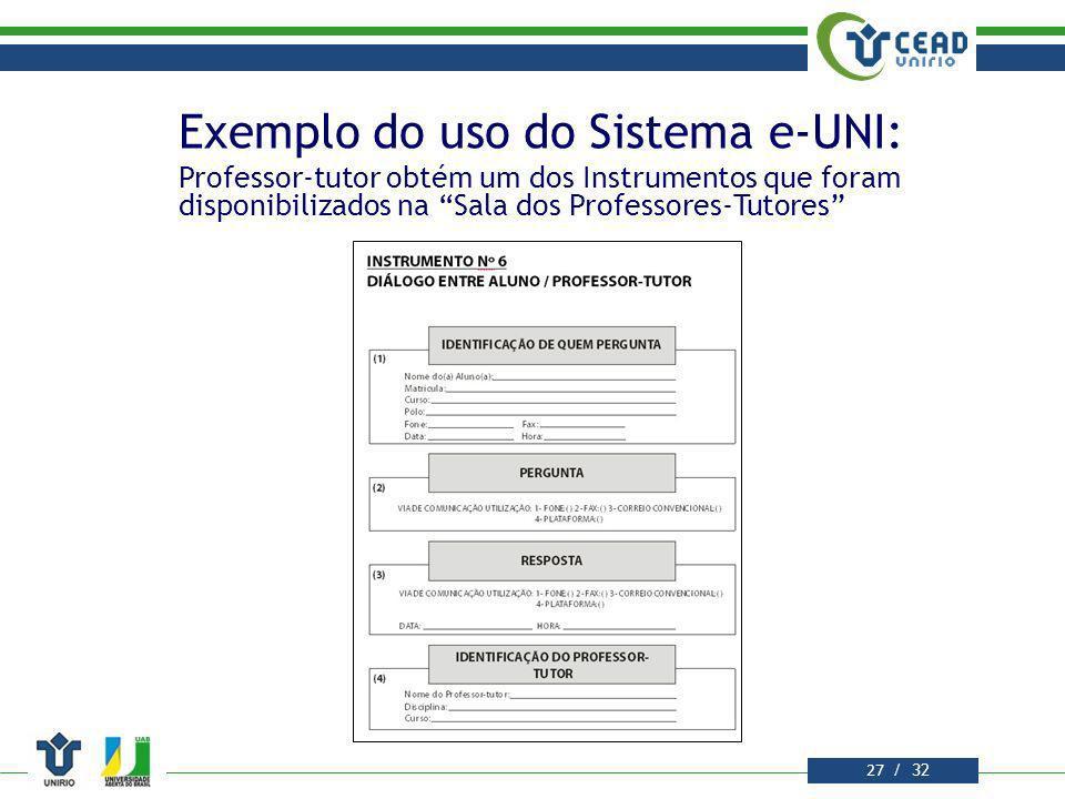 Exemplo do uso do Sistema e-UNI: