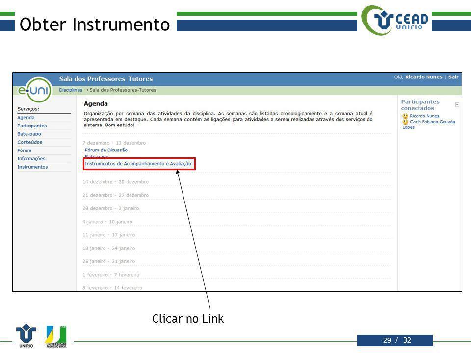 Obter Instrumento Clicar no Link