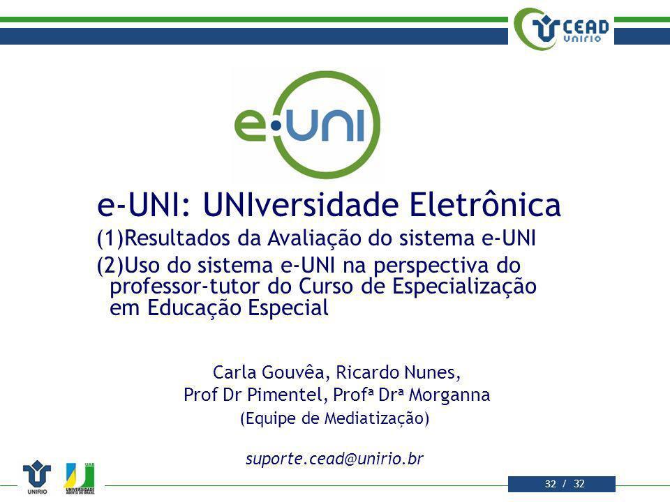 e-UNI: UNIversidade Eletrônica