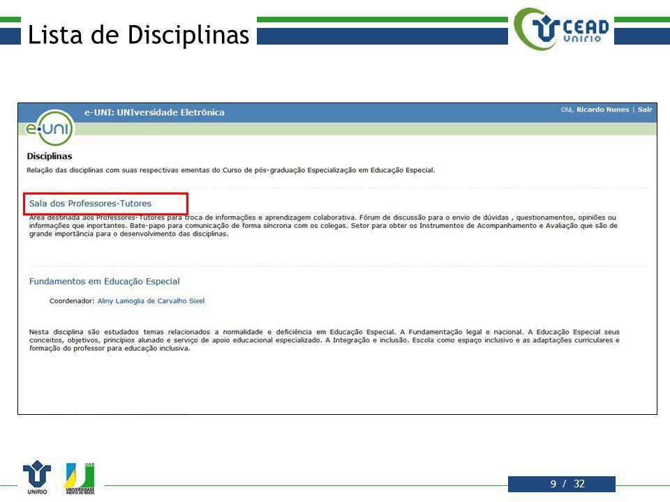 Lista de Disciplinas