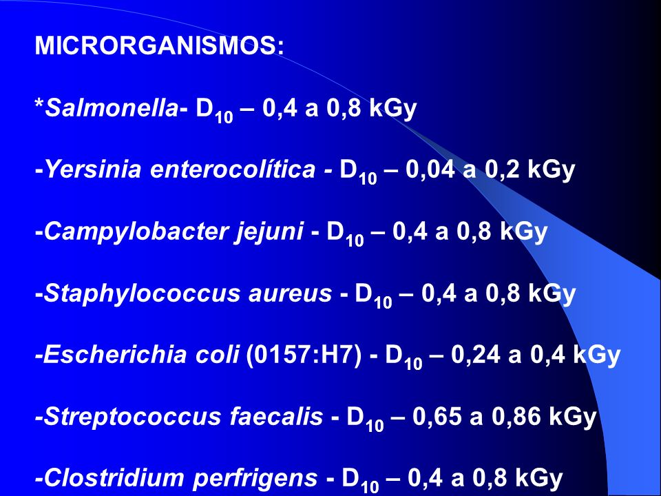 MICRORGANISMOS: *Salmonella- D10 – 0,4 a 0,8 kGy. -Yersinia enterocolítica - D10 – 0,04 a 0,2 kGy.