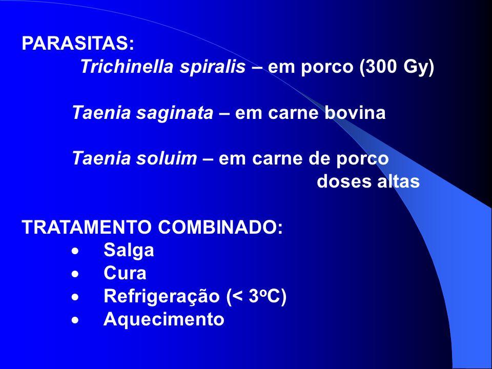 PARASITAS: Trichinella spiralis – em porco (300 Gy) Taenia saginata – em carne bovina.
