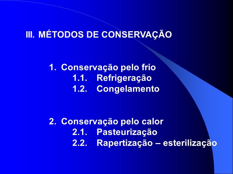 III. MÉTODOS DE CONSERVAÇÃO