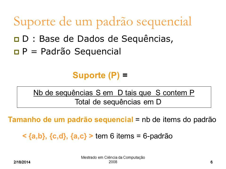 Suporte de um padrão sequencial