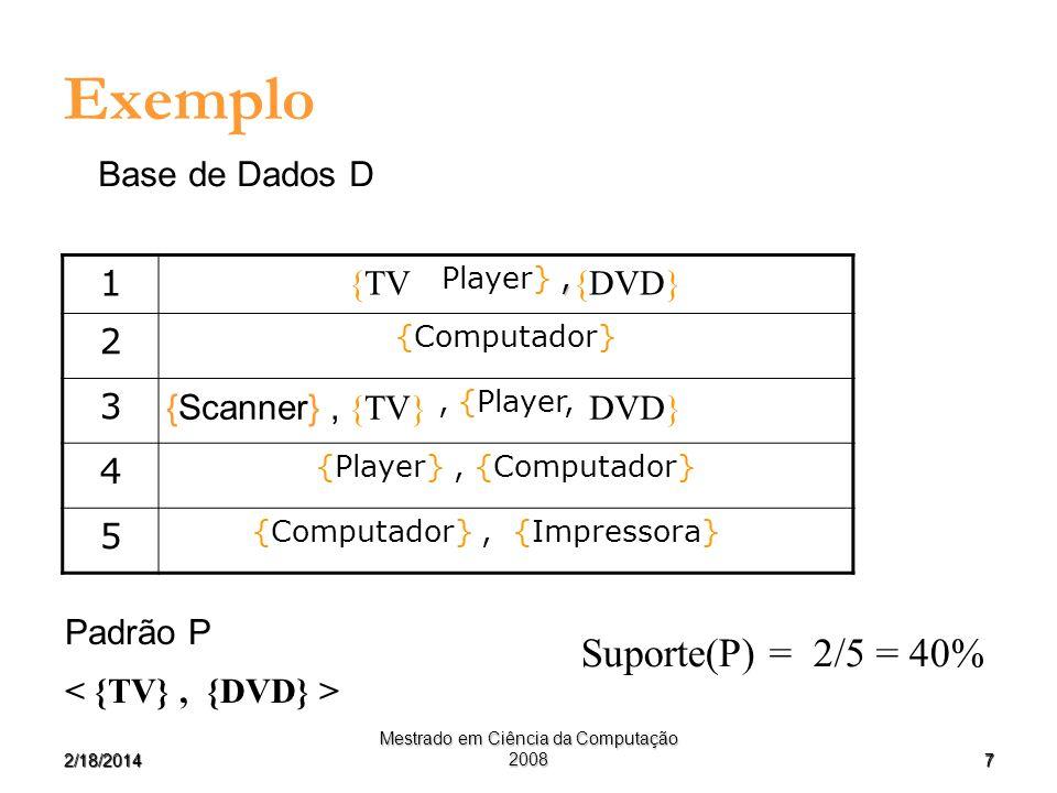Exemplo Suporte(P) = 2/5 = 40% Base de Dados D 1 2 3 4 5 {TV {DVD}
