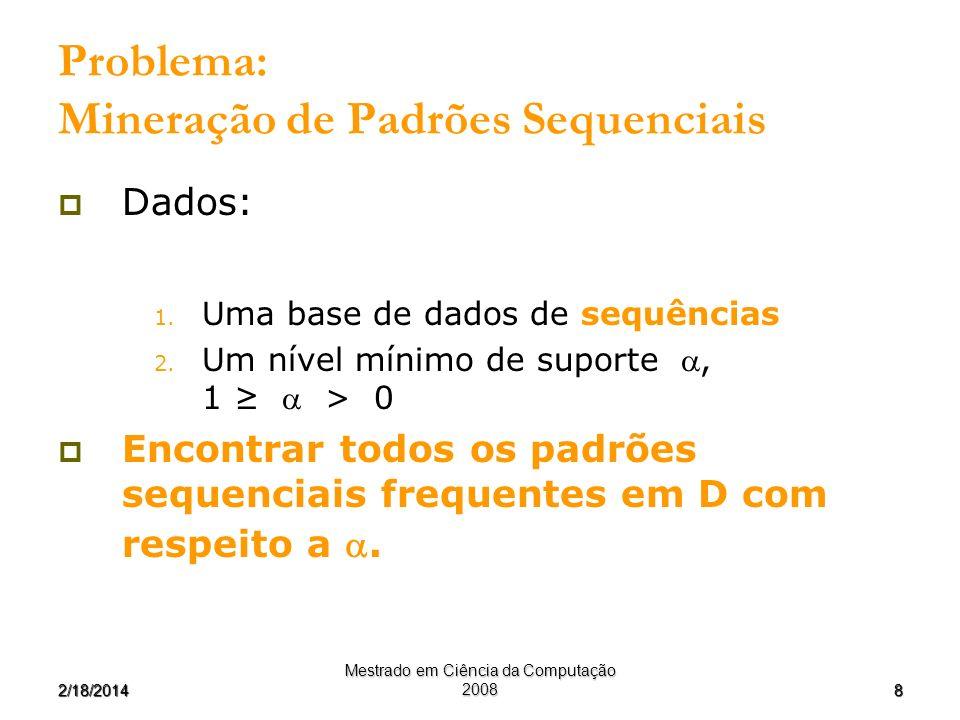 Problema: Mineração de Padrões Sequenciais