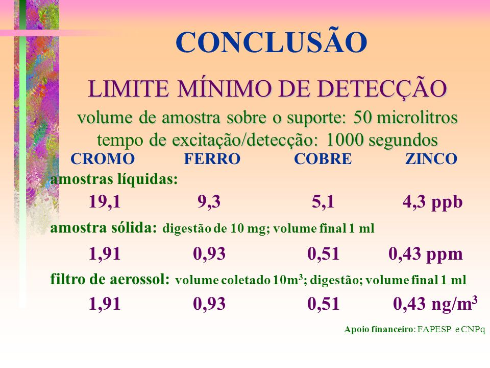 CONCLUSÃO LIMITE MÍNIMO DE DETECÇÃO