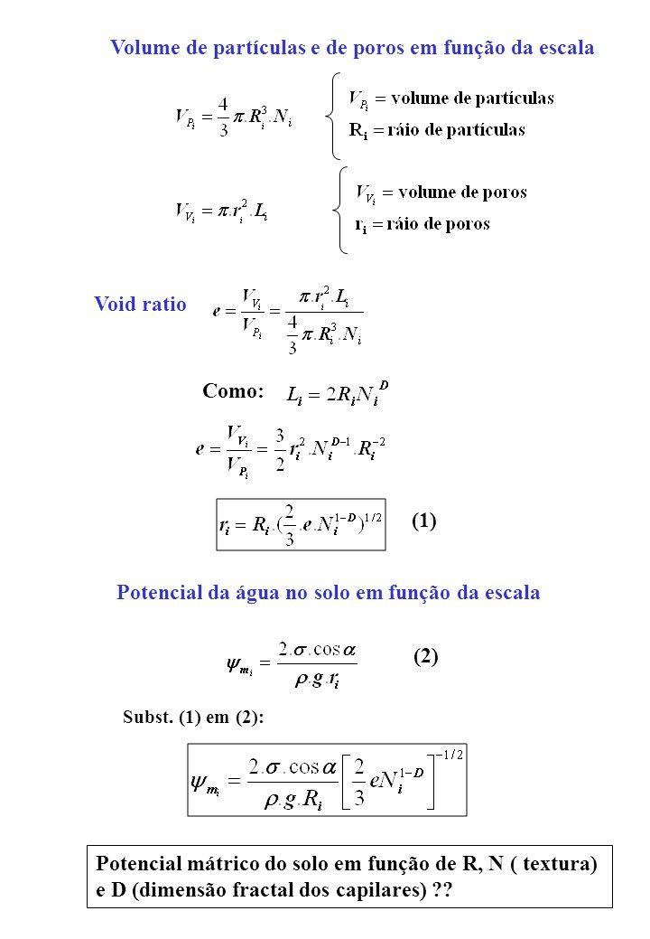 Volume de partículas e de poros em função da escala