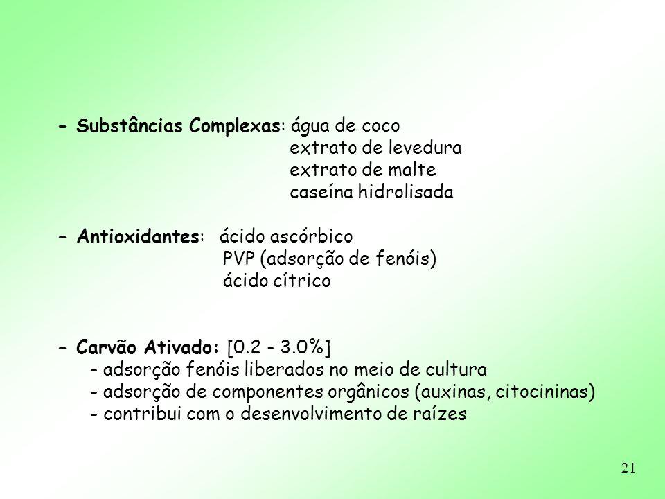 - Substâncias Complexas: água de coco