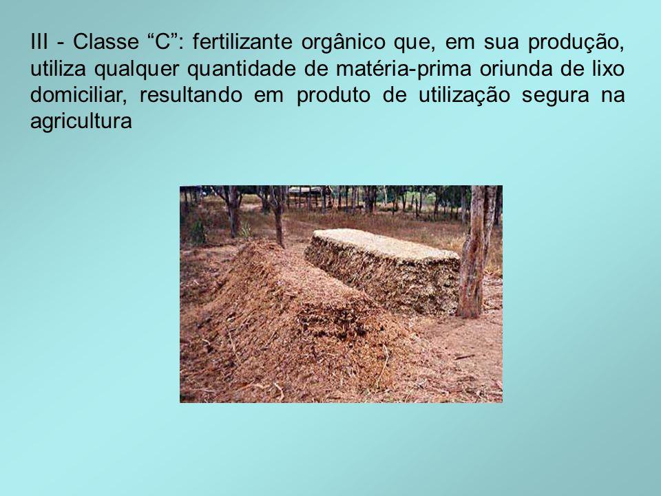 III - Classe C : fertilizante orgânico que, em sua produção, utiliza qualquer quantidade de matéria-prima oriunda de lixo domiciliar, resultando em produto de utilização segura na agricultura