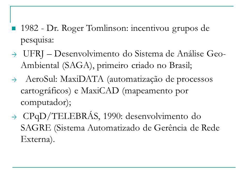1982 - Dr. Roger Tomlinson: incentivou grupos de pesquisa: