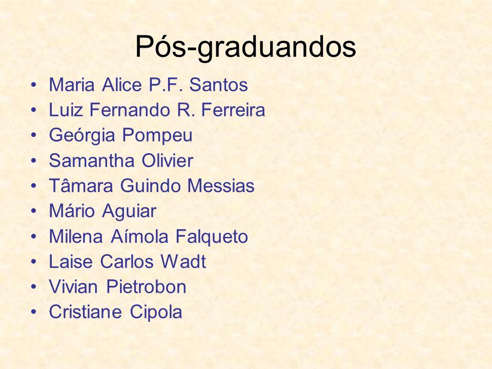 Pós-graduandos Maria Alice P.F. Santos Luiz Fernando R. Ferreira