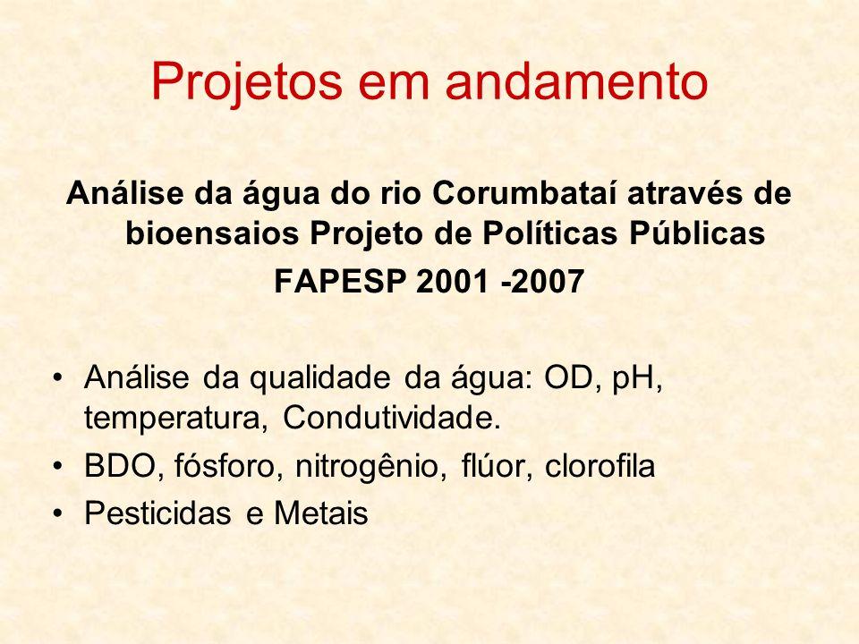 Projetos em andamento Análise da água do rio Corumbataí através de bioensaios Projeto de Políticas Públicas.