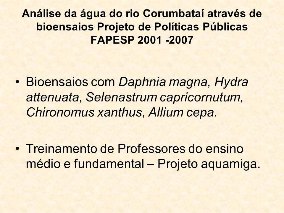 Análise da água do rio Corumbataí através de bioensaios Projeto de Políticas Públicas FAPESP 2001 -2007
