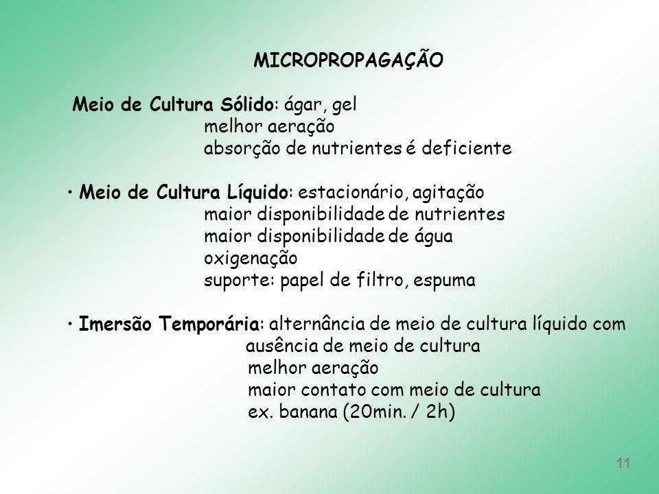 MICROPROPAGAÇÃO Meio de Cultura Sólido: ágar, gel. melhor aeração. absorção de nutrientes é deficiente.