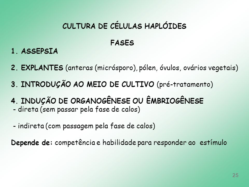 CULTURA DE CÉLULAS HAPLÓIDES