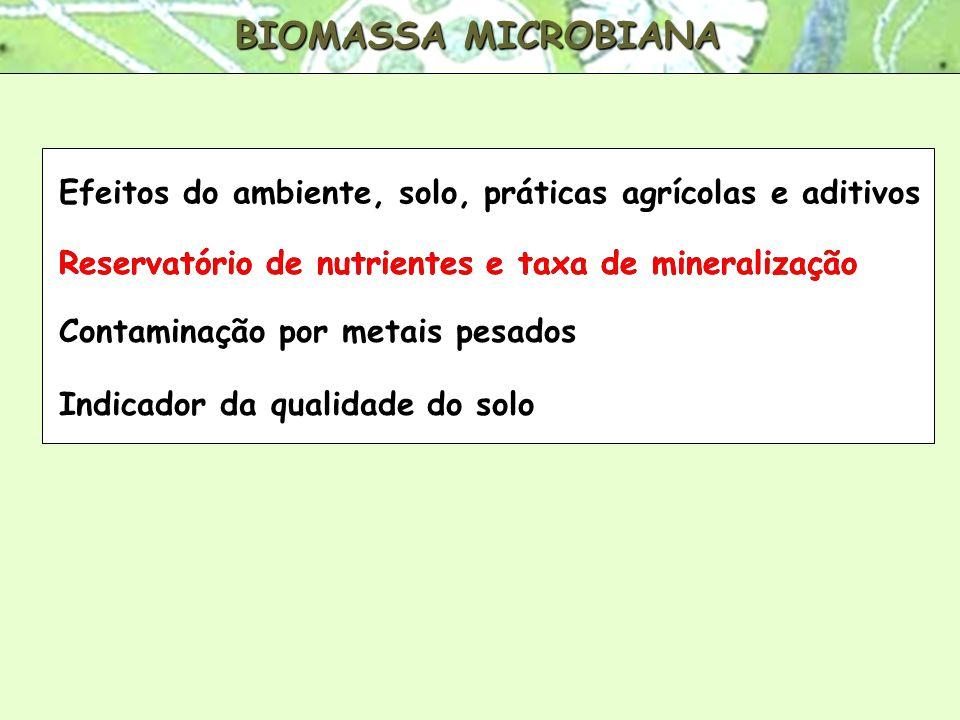 BIOMASSA MICROBIANA Efeitos do ambiente, solo, práticas agrícolas e aditivos. Reservatório de nutrientes e taxa de mineralização.