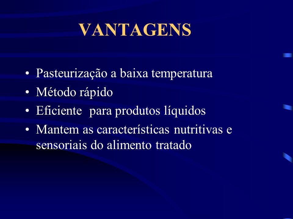 VANTAGENS Pasteurização a baixa temperatura Método rápido
