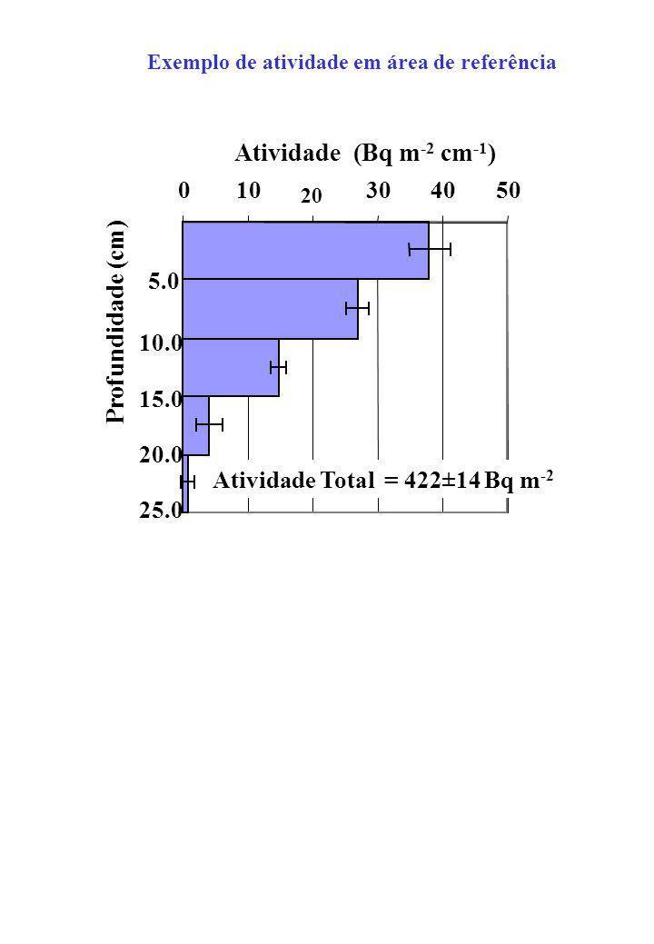 Atividade (Bq m-2 cm-1) Profundidade (cm) 10 30 40 50 5.0 10.0 15.0