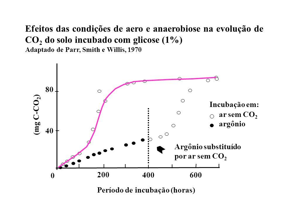 Efeitos das condições de aero e anaerobiose na evolução de CO2 do solo incubado com glicose (1%)