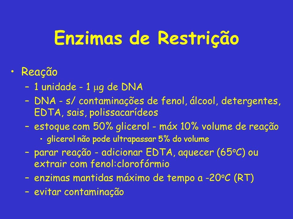 Enzimas de Restrição Reação 1 unidade - 1 mg de DNA