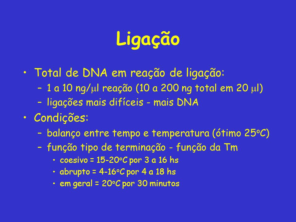 Ligação Total de DNA em reação de ligação: Condições:
