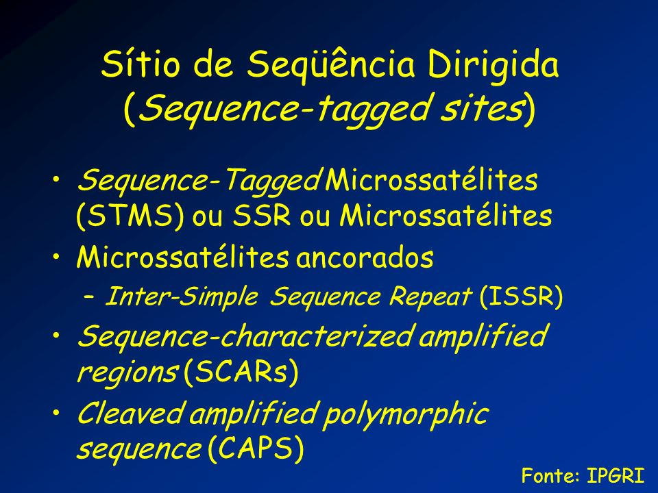 Sítio de Seqüência Dirigida (Sequence-tagged sites)