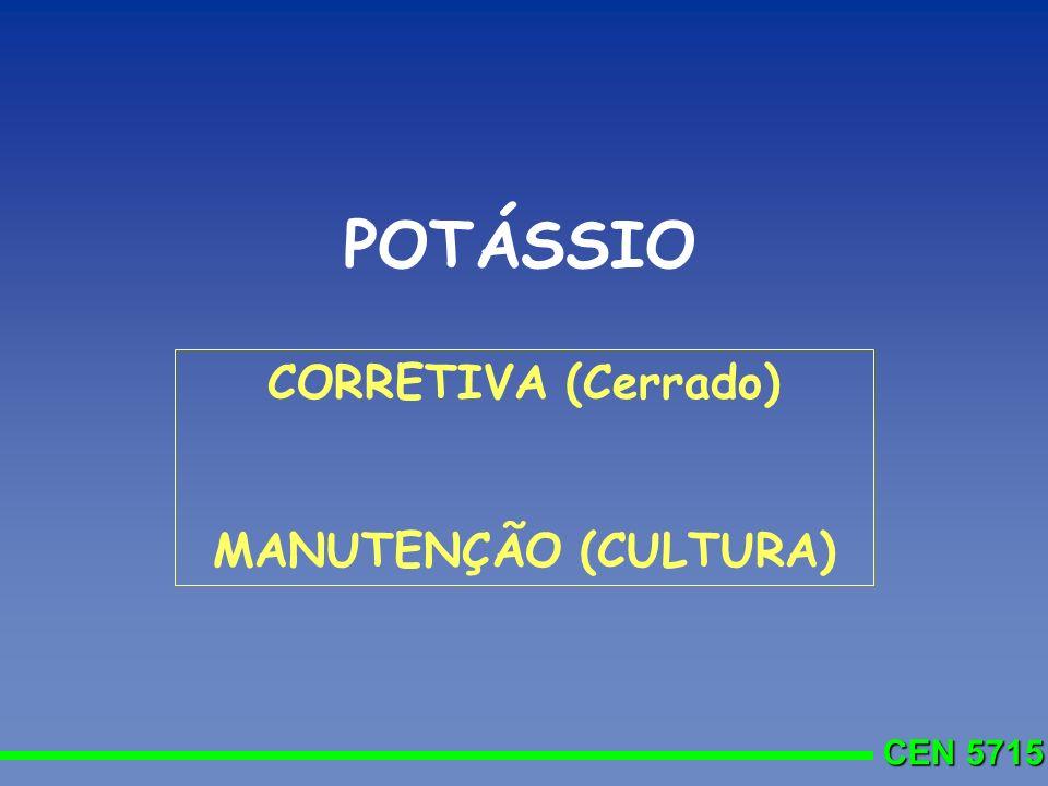 POTÁSSIO CORRETIVA (Cerrado) MANUTENÇÃO (CULTURA)