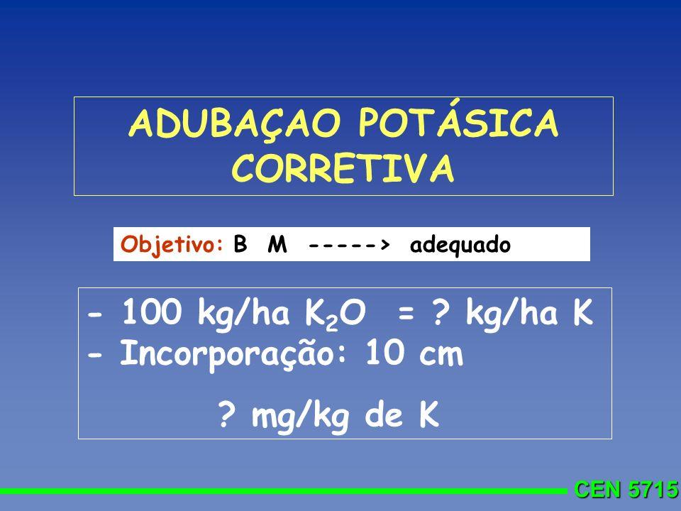 ADUBAÇAO POTÁSICA CORRETIVA