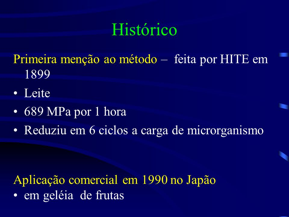 Histórico Primeira menção ao método – feita por HITE em 1899 Leite
