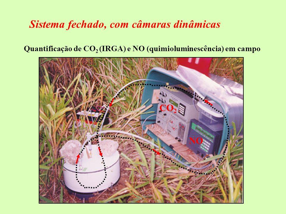 Quantificação de CO2 (IRGA) e NO (quimioluminescência) em campo