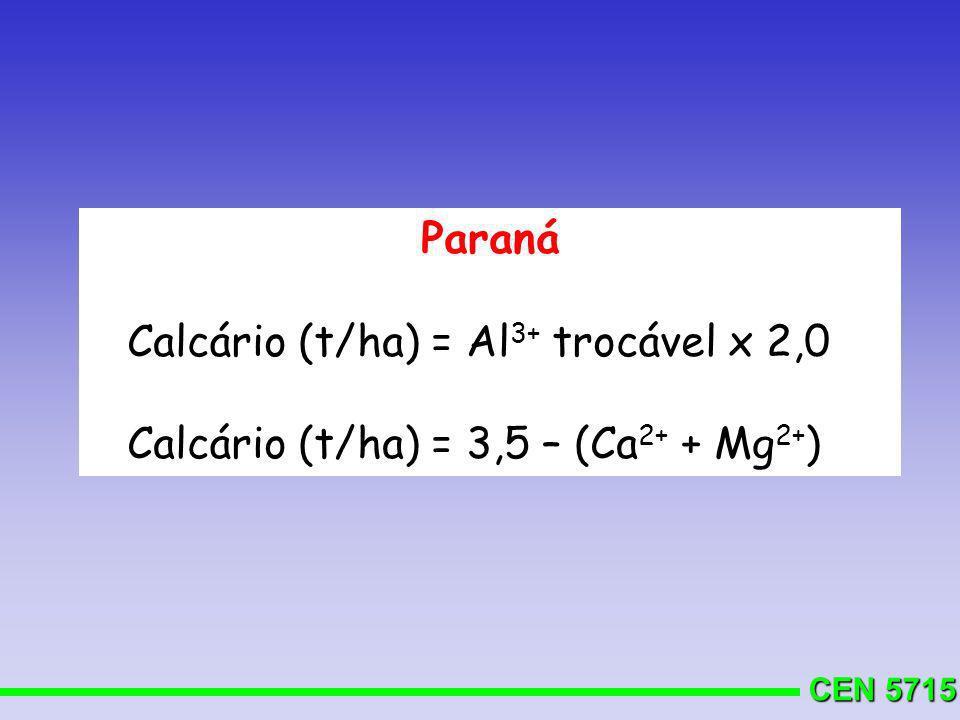 Paraná Calcário (t/ha) = Al3+ trocável x 2,0 Calcário (t/ha) = 3,5 – (Ca2+ + Mg2+)