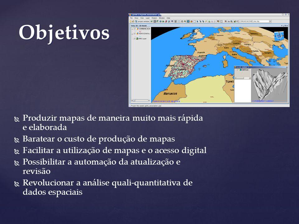 Objetivos Produzir mapas de maneira muito mais rápida e elaborada