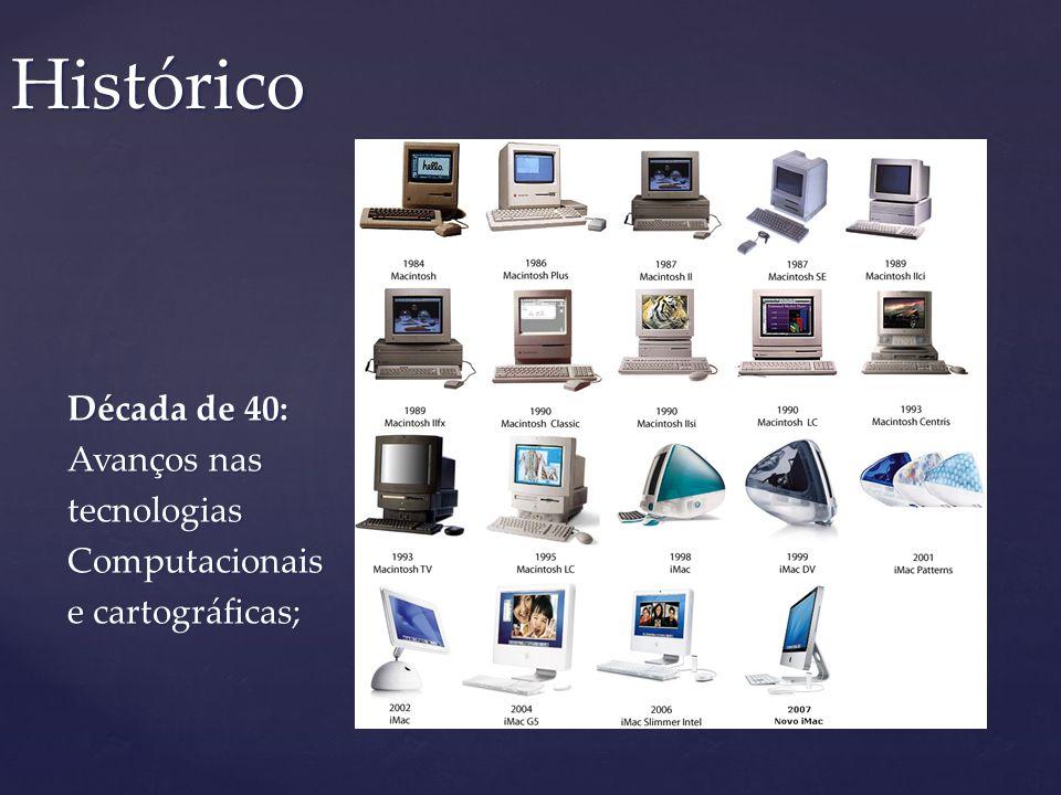 Histórico Década de 40: Avanços nas tecnologias Computacionais e cartográficas;