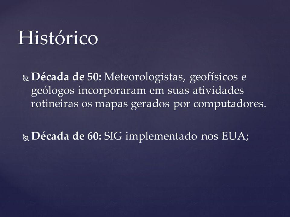 HistóricoDécada de 50: Meteorologistas, geofísicos e geólogos incorporaram em suas atividades rotineiras os mapas gerados por computadores.