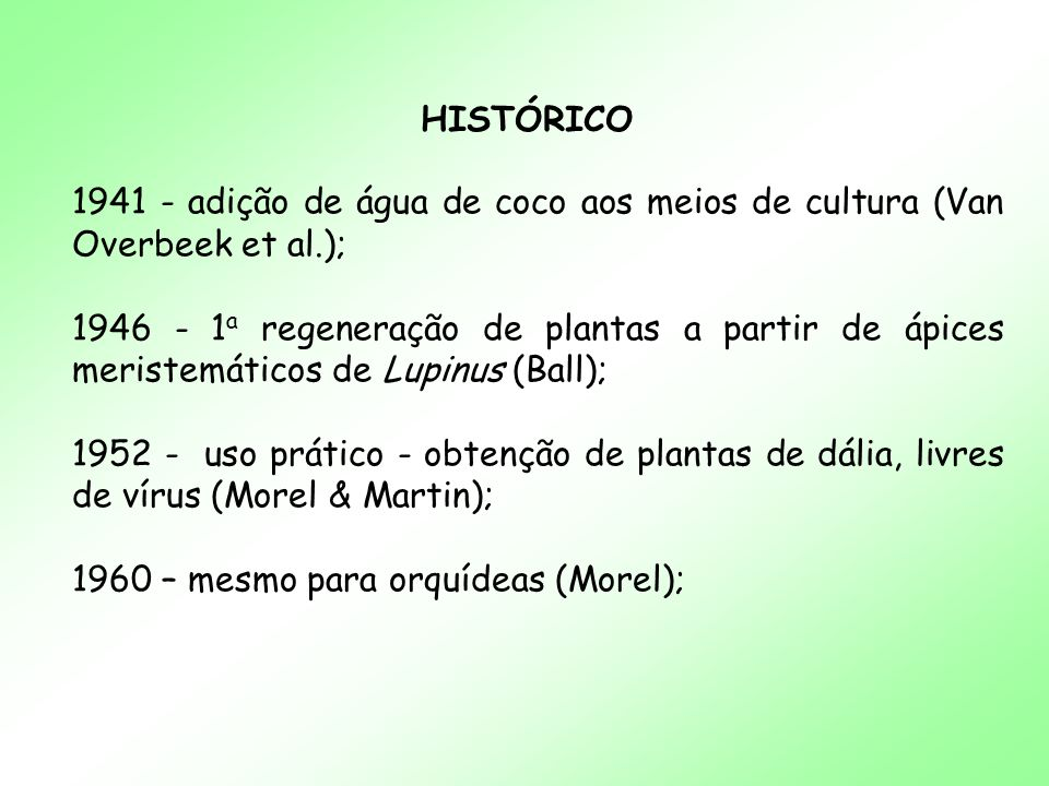 HISTÓRICO 1941 - adição de água de coco aos meios de cultura (Van Overbeek et al.);