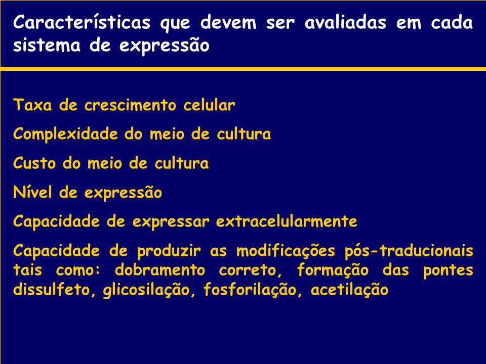 Características que devem ser avaliadas em cada sistema de expressão