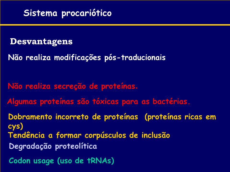 Sistema procariótico Desvantagens