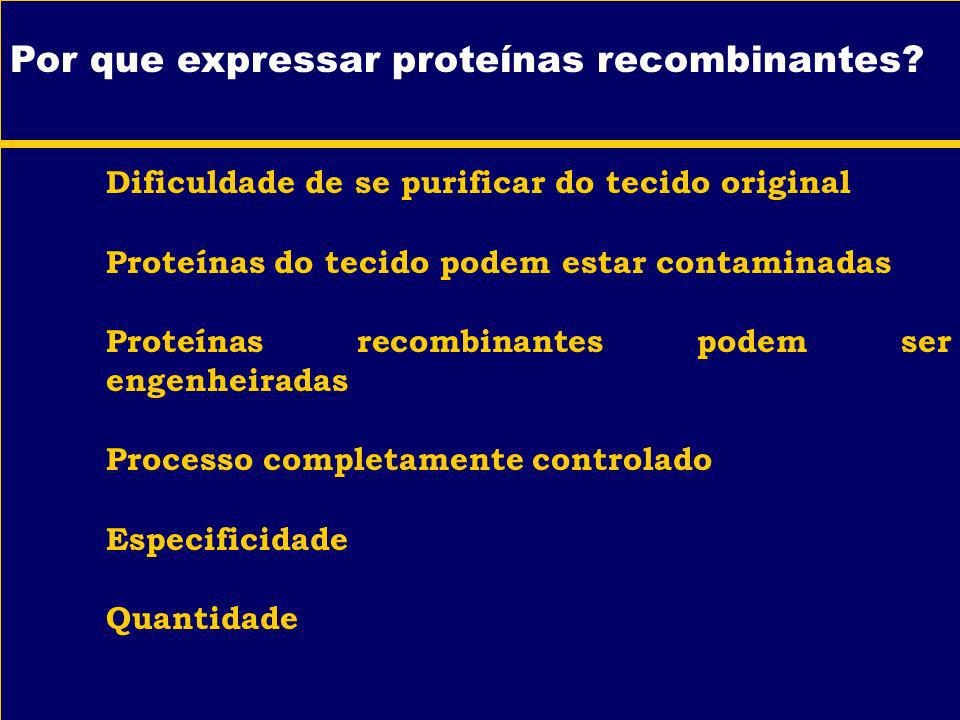 Por que expressar proteínas recombinantes