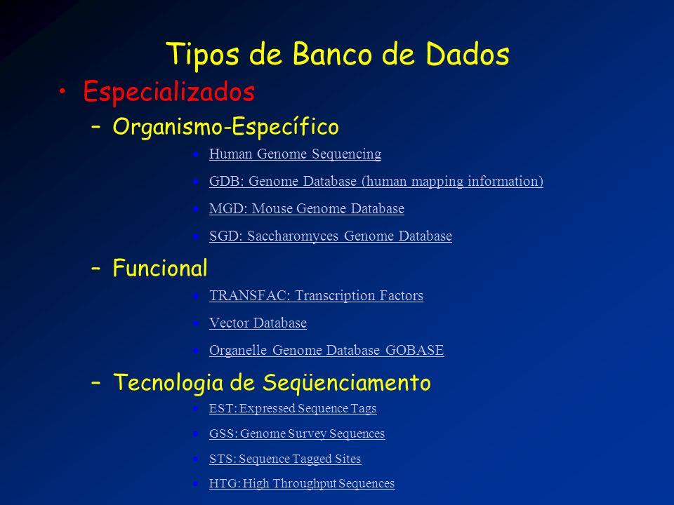 Tipos de Banco de Dados Especializados Organismo-Específico Funcional