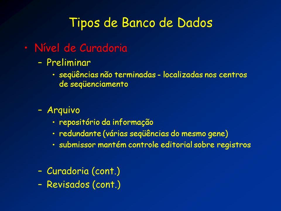 Tipos de Banco de Dados Nível de Curadoria Preliminar Arquivo