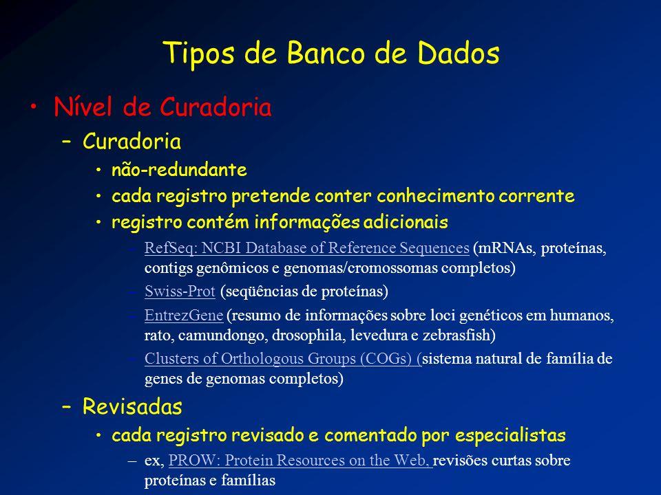 Tipos de Banco de Dados Nível de Curadoria Curadoria Revisadas